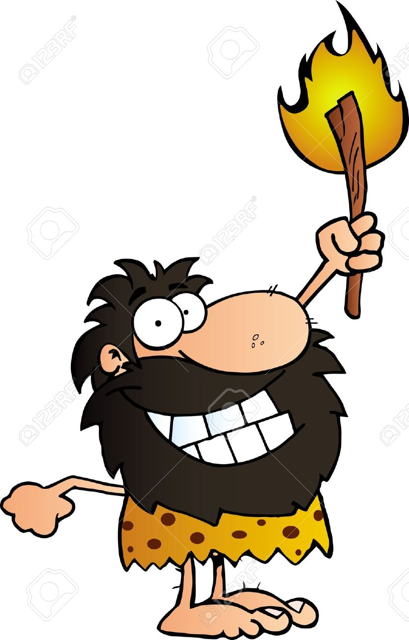 Cave man with fire. Caveman clipart big