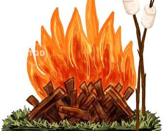 Bonfire clipart cute. Boys camping clip art