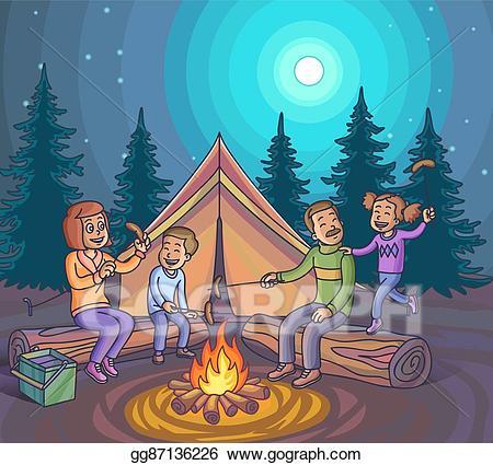 Campfire clipart family. Vector art happy camping
