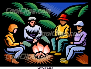 Campfire clipart family. Sitting around clip art