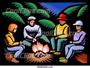 Bonfire clipart family. Sitting around campfire clip