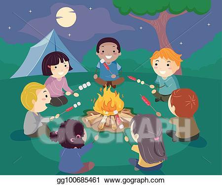 Bonfire clipart family. Vector illustration stickman kids