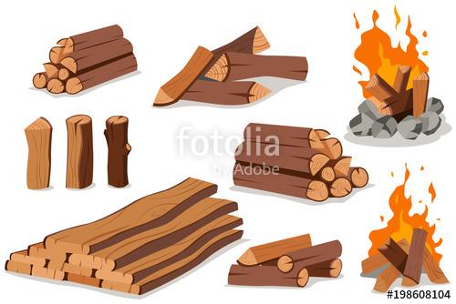 Bonfire clipart fire log. Wood and campfire vector
