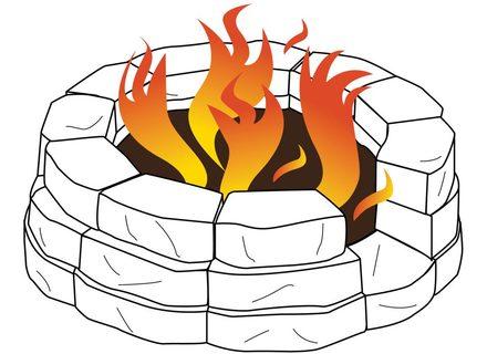 cartoon camp pencil. Campfire clipart fire pit