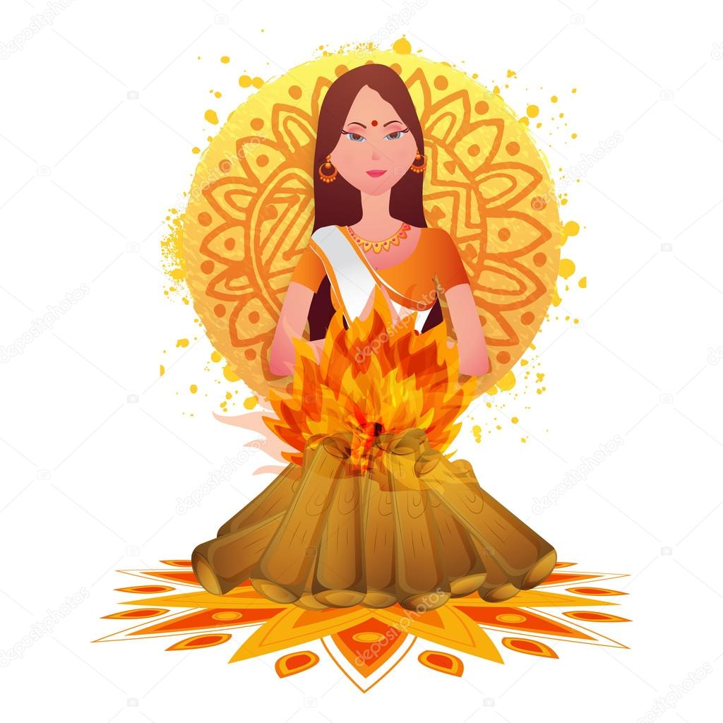 Bonfire clipart holi. Holika in fire for