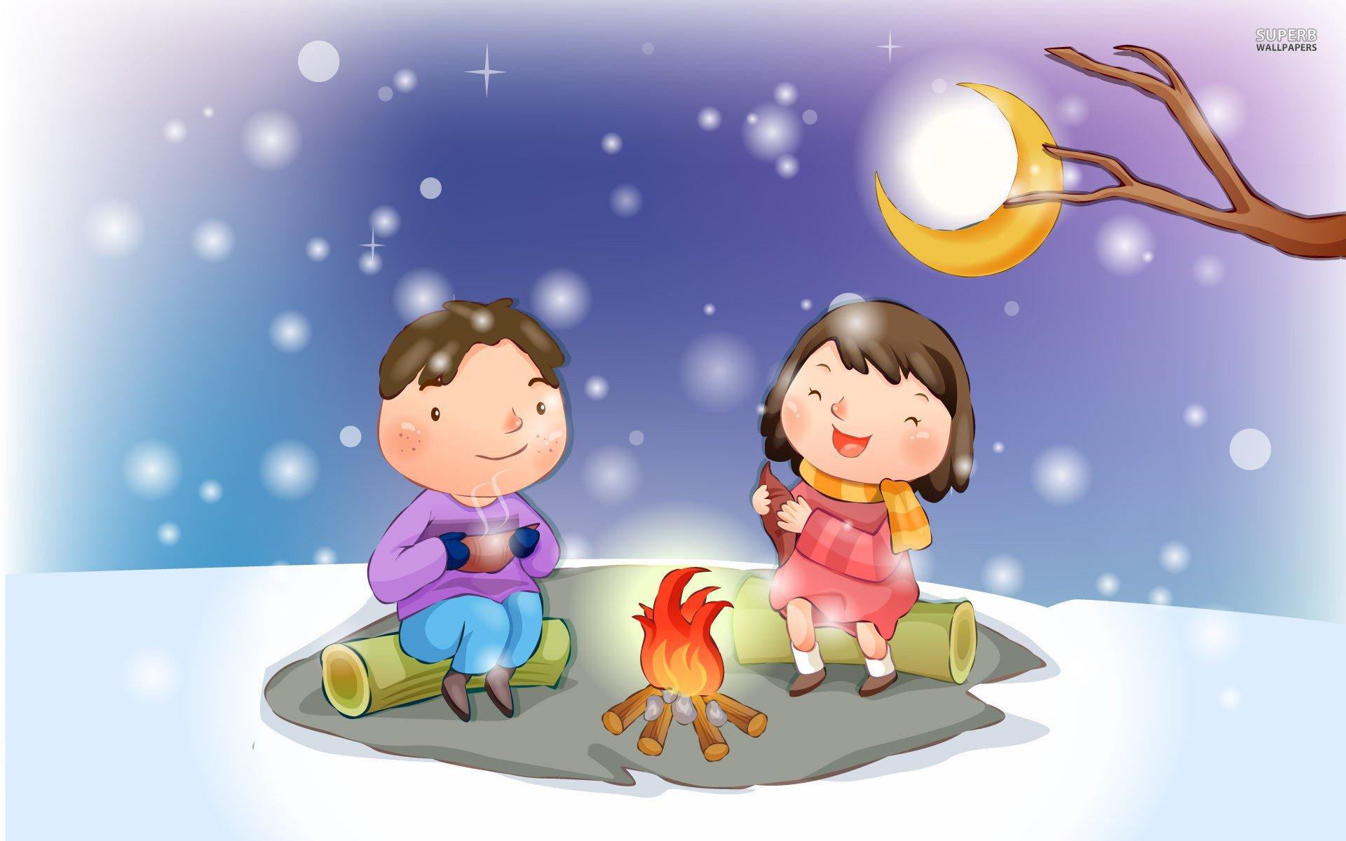 Bonfire clipart kid. In the snow walldevil