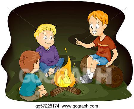 Campfire clipart storytelling. Stock illustration clip art