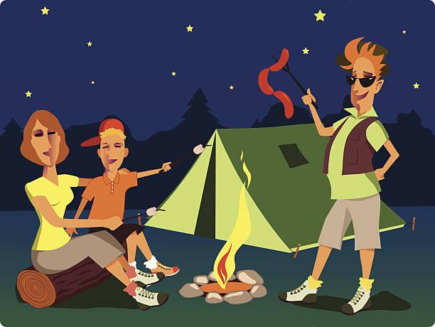 Bonfire clipart kid. Campfire campire family pencil