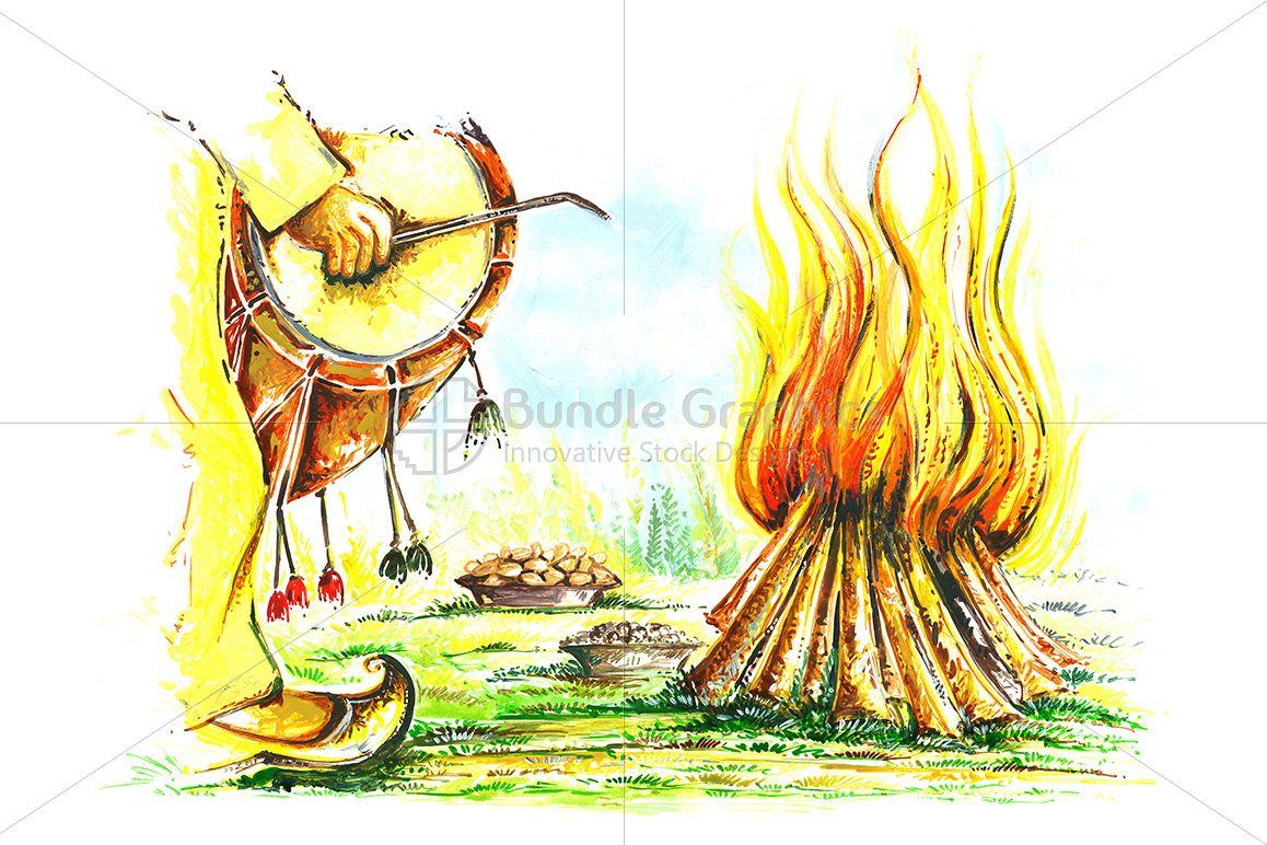 Bonfire clipart lohri. Painting of punjabi festival