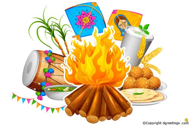 Festival about tradition rituals. Bonfire clipart lohri