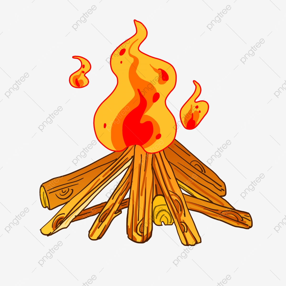 Bonfire clipart painted. Warm party yellow flame