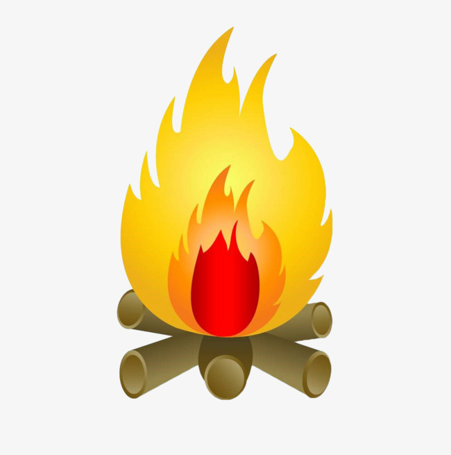 Bonfire clipart painted. Hand gold fire flame