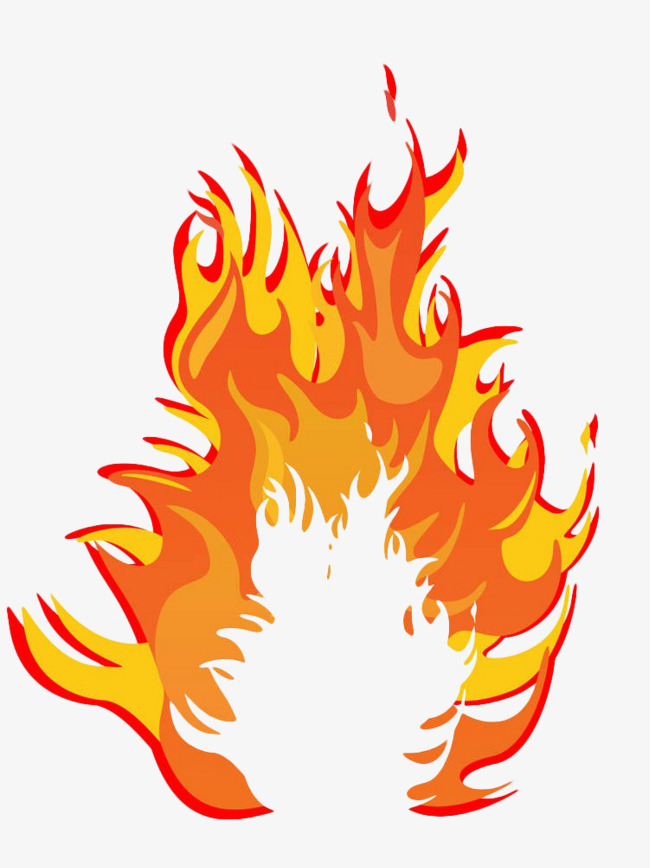 Hand flame gold png. Bonfire clipart painted
