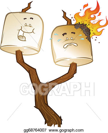 Vector stock roasted cartoons. Campfire clipart roasting marshmallow
