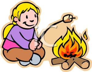 Campfire clipart roasting marshmallow. Little girl marshmallows over