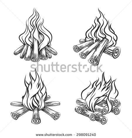 Bonfire clipart sketch. Hand drawn vector set