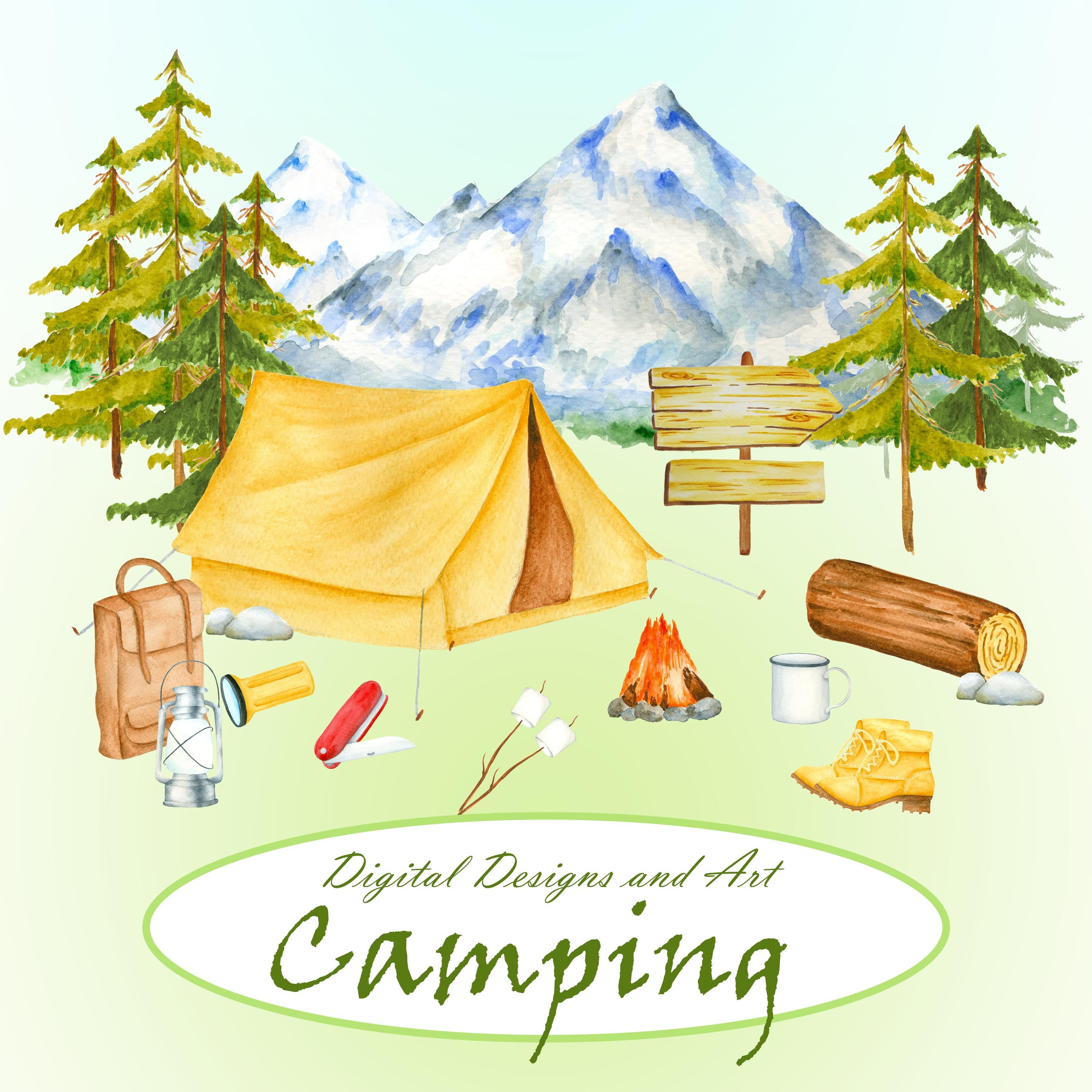 Clipart tent travel. Watercolor camping item forest