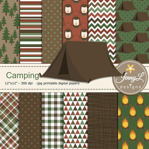 Camping digital papers set. Bonfire clipart tree