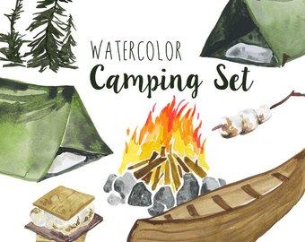 Campfire clipart outdoor. Etsy watercolor camping clip