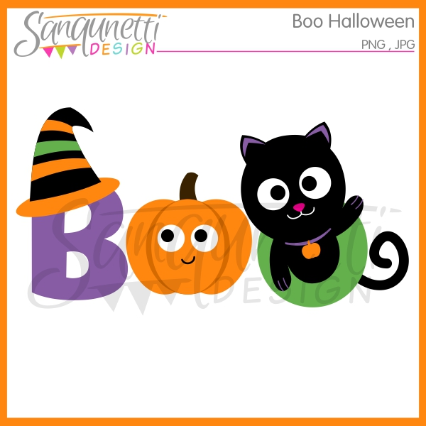 Boo clipart. Sanqunetti design halloween lettering