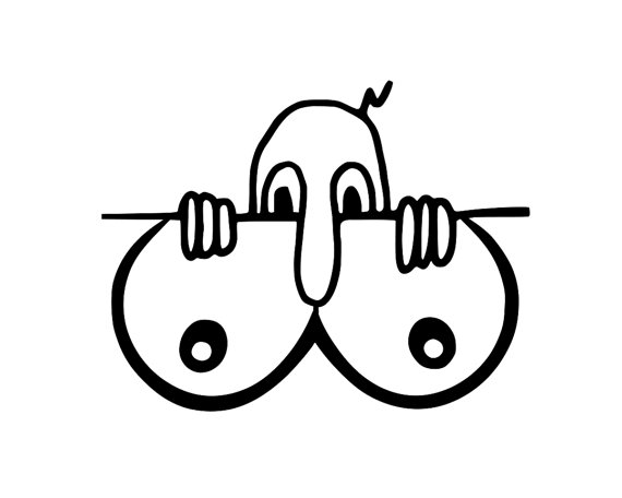 Boobs clipart black and white. Funny kilroy was here