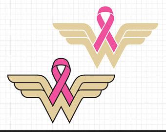 Boobs clipart breast cancer. Wonder woman ribbon awareness