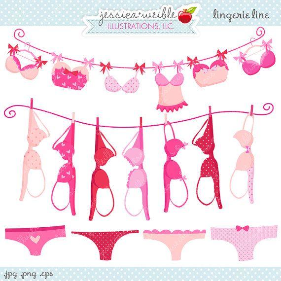 Lingerie line cute digital. Boobs clipart pink bra
