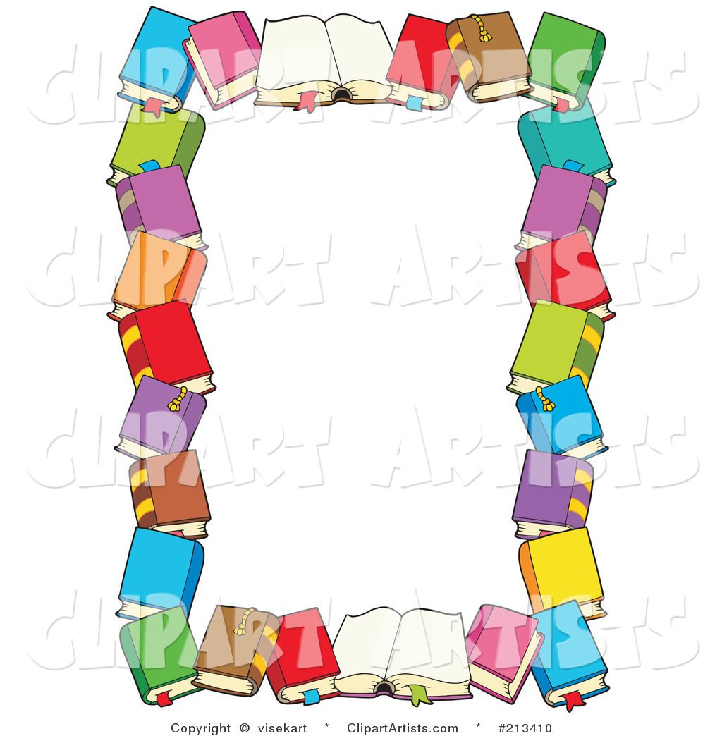 Books clipart boarder. Book border clip art