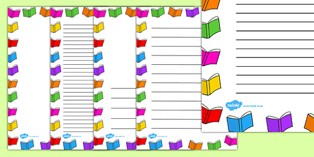 Books page writing literacy. Book clipart borders