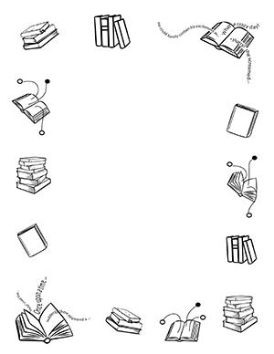 Book clipart borders. Books portrait blank teacher