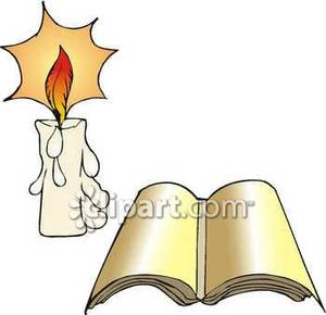 An open next to. Book clipart candle