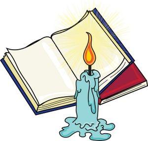 Alien romances theme symbolism. Book clipart candle