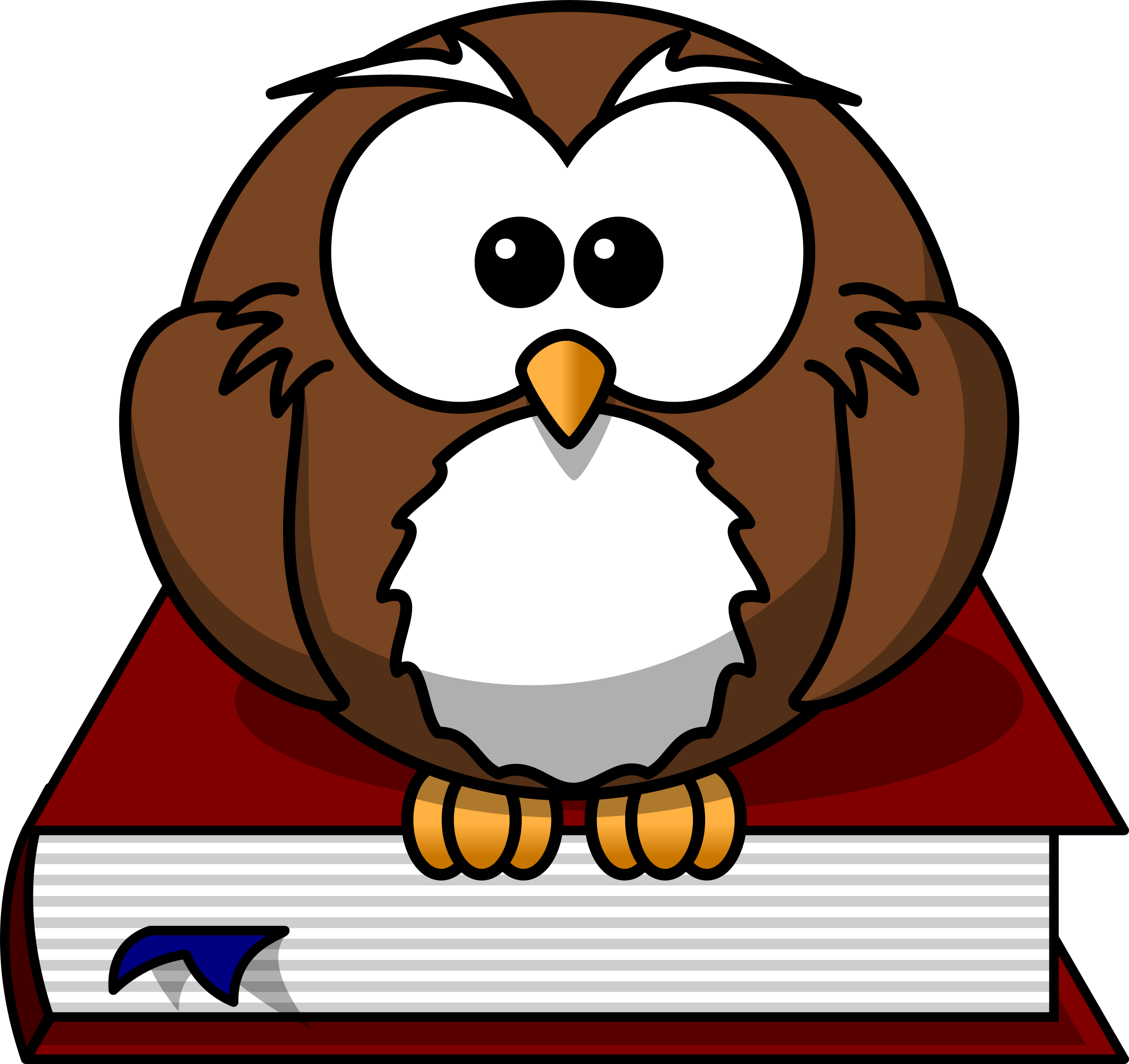 Owl sitting on a. Book clipart cartoon