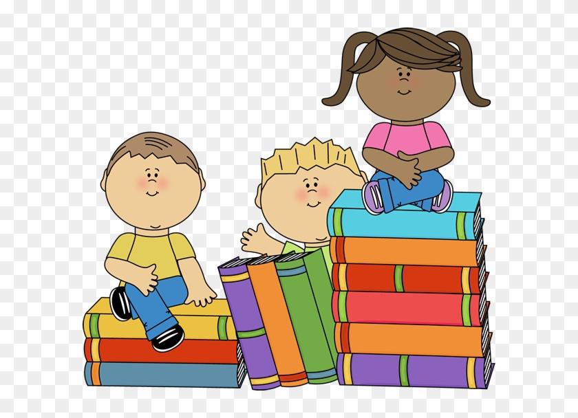 Kids sitting on books. Book clipart children's book