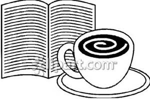 A cup of and. Book clipart coffee