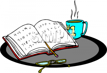Picture of a math. Book clipart coffee