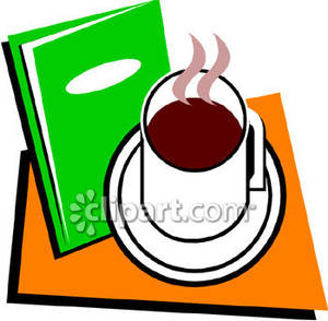 Book clipart coffee. A cup of and