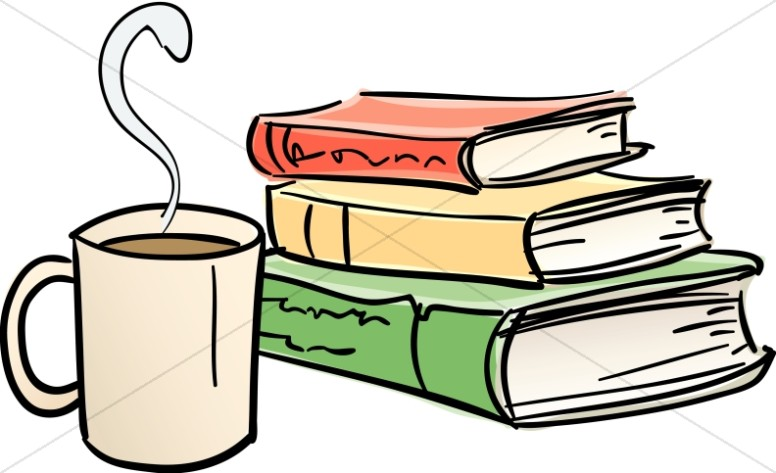 Library books and mug. Coffee clipart book