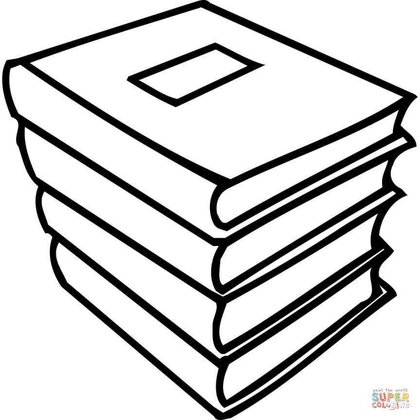 Book clipart colouring. A pile of books