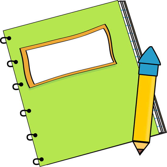 Notebook clipart green notebook. Cute book and pencil