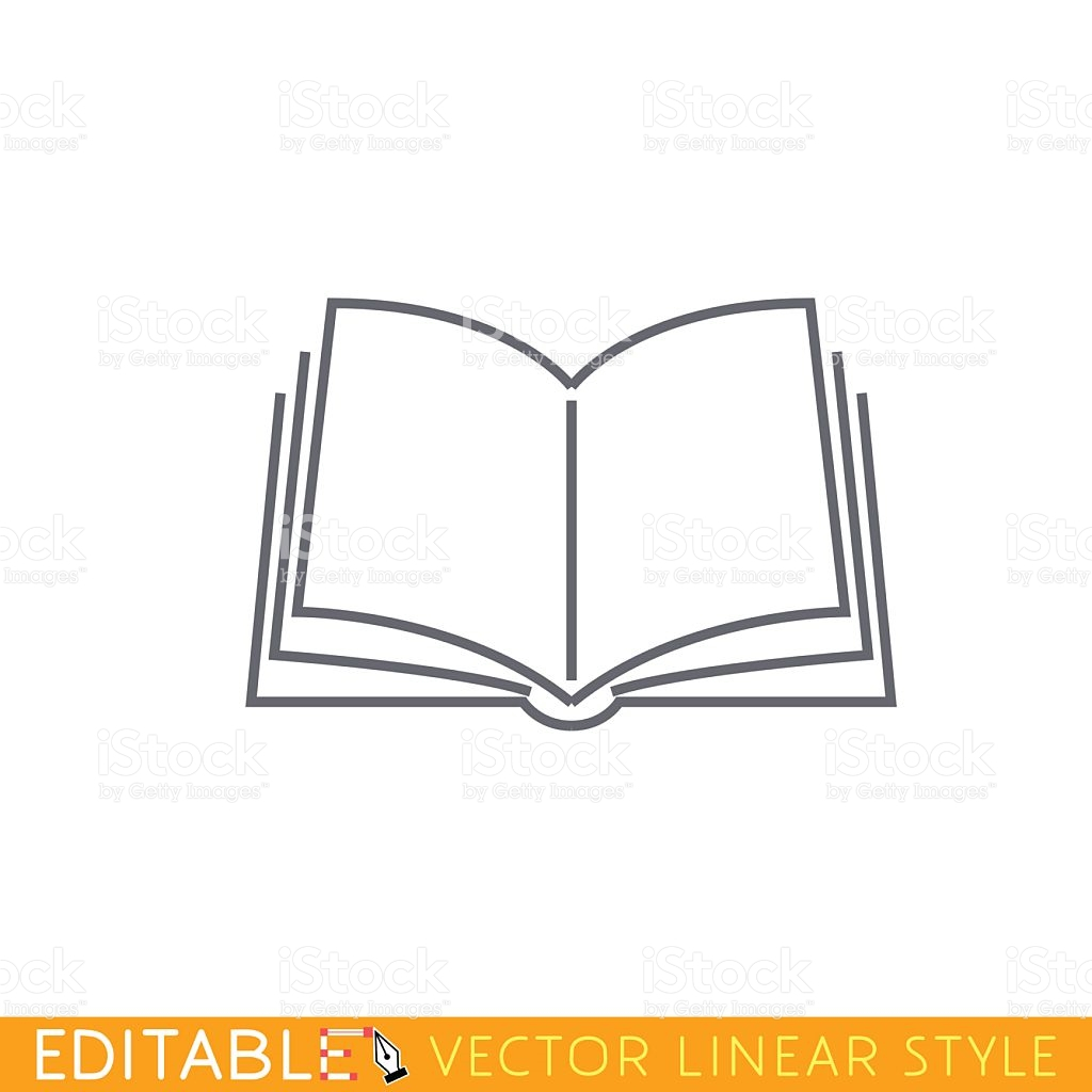 Book clipart easy. Drawing an open outline
