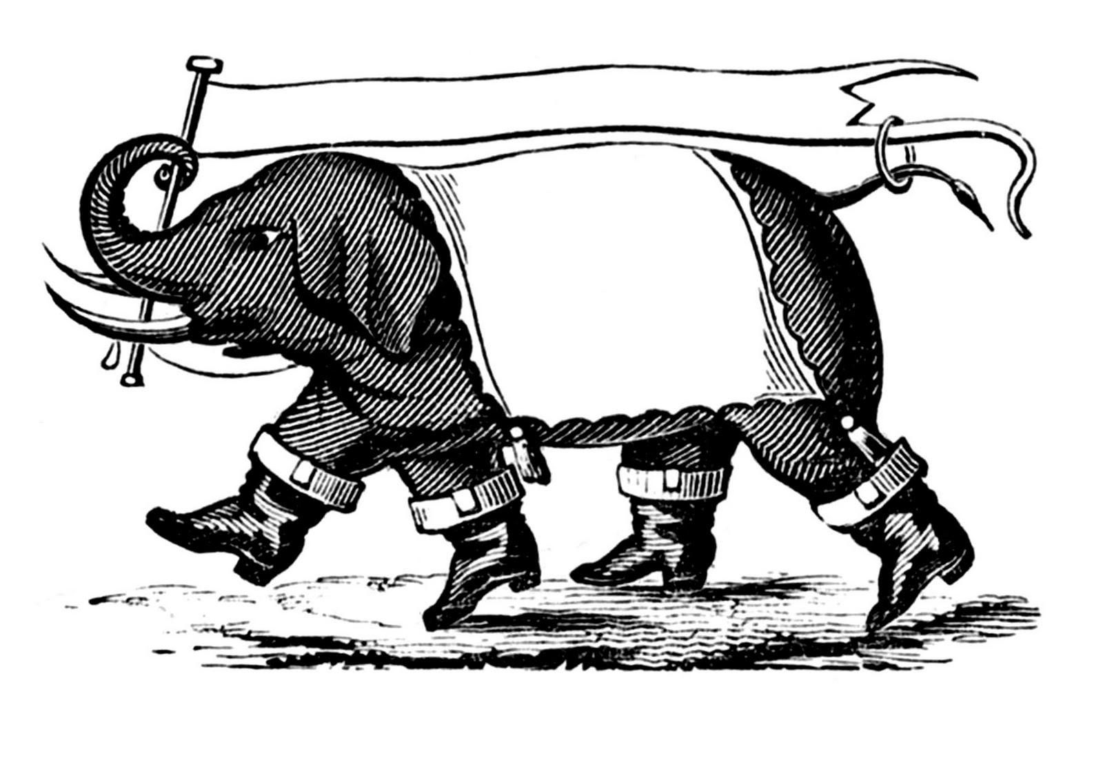 Retro clipart quirky. Vintage clip art elephant