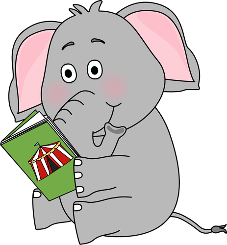 Elephant Reading Clip Art