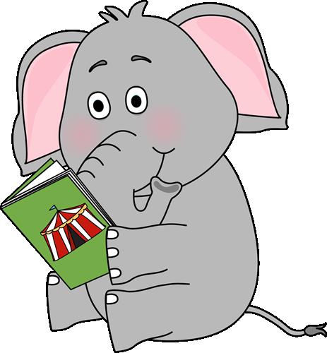 Animal clipart elephant. Reading clip art image