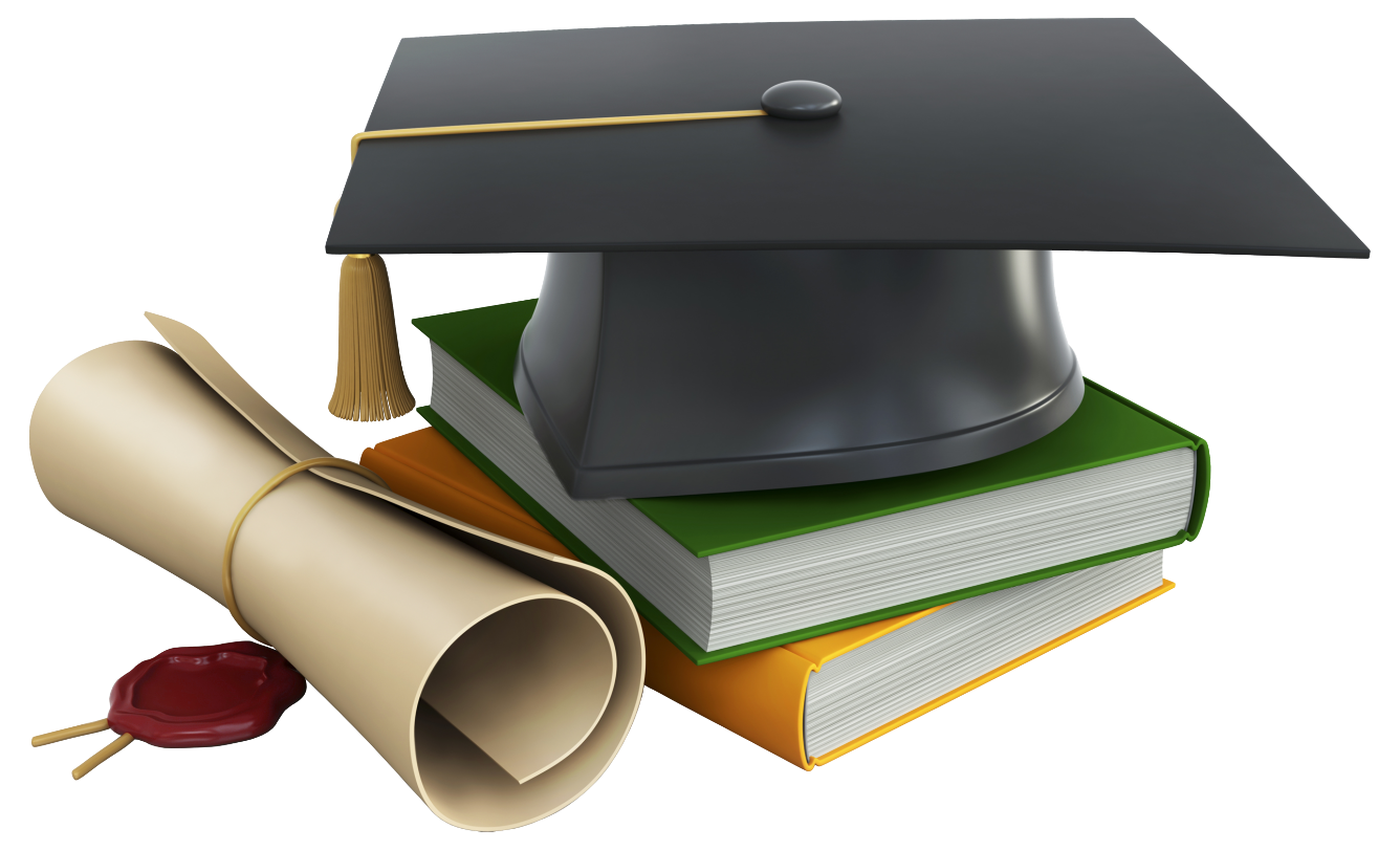 Hat clipart school. Graduation cap books and