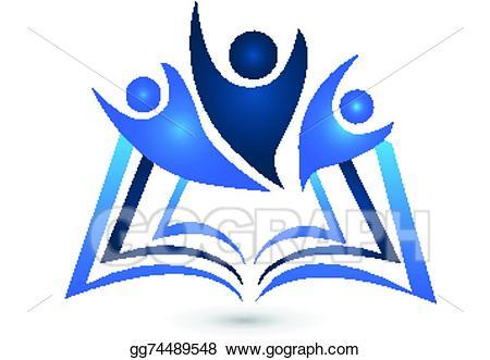 Teamwork clipart study design. Vector illustration book logo