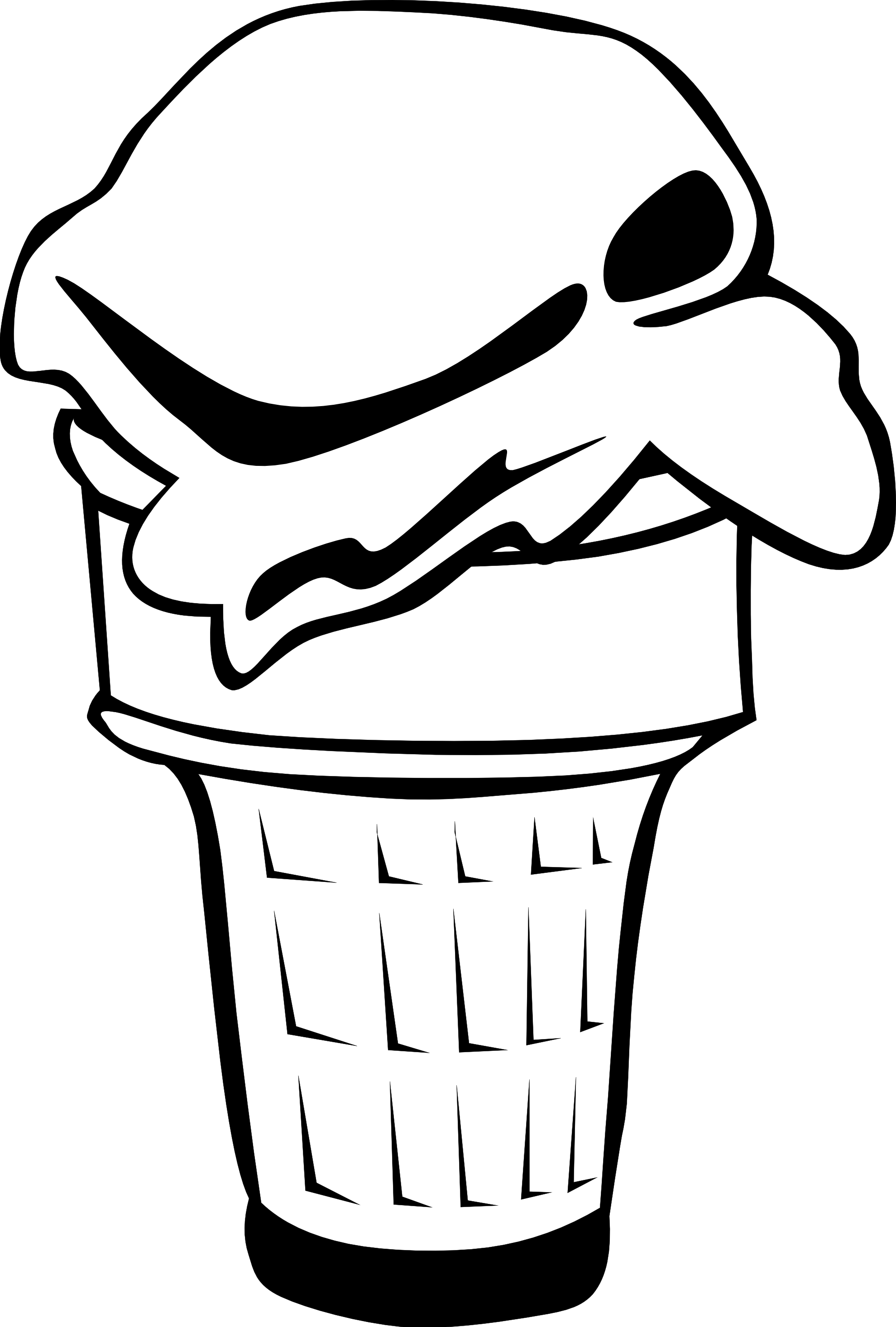 Ice cream cones ff. Yogurt clipart black and white