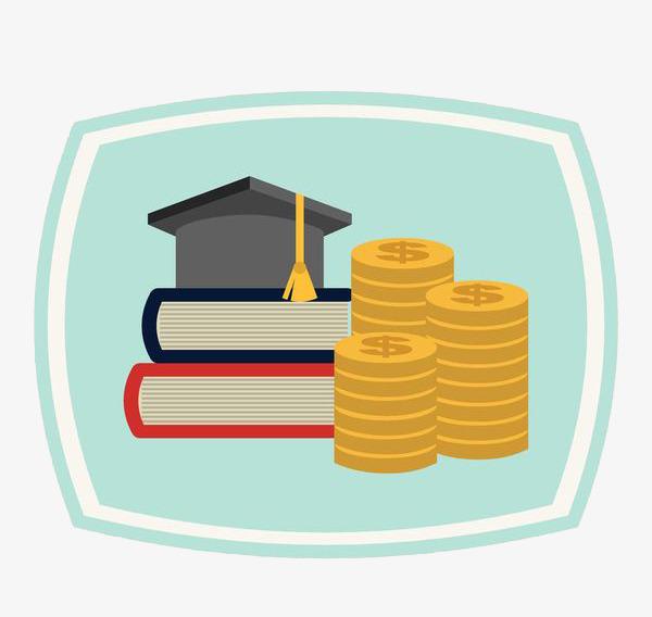Gold coins beside a. Book clipart money