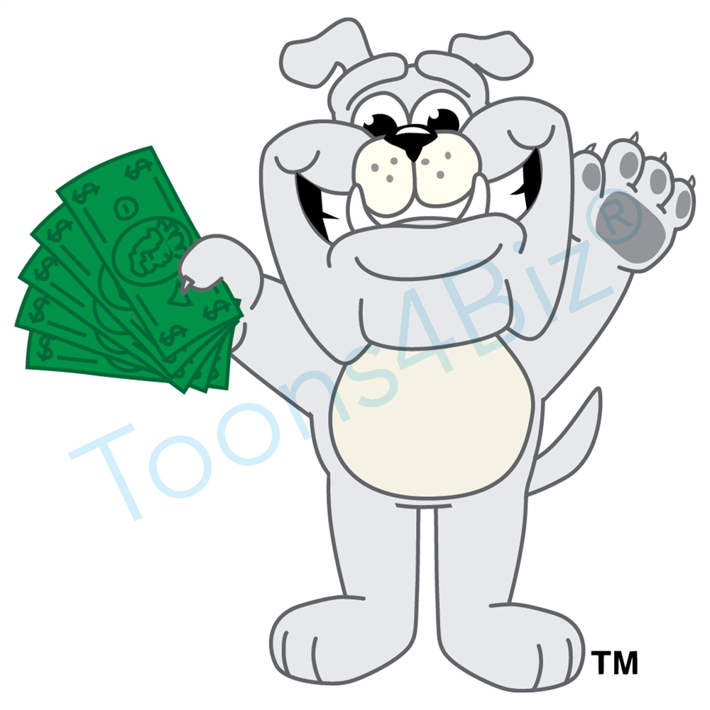 Book clipart money. Bulldog mascot holding clip