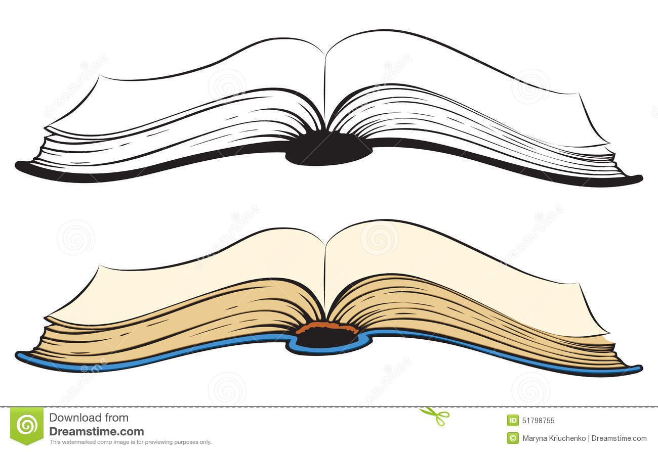 Drawing an white pencil. Book clipart open book